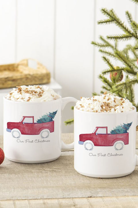 $46 BUY NOW Hot chocolate, mulledcider, spiked eggnog ... Seasonal drinks call for a seasonal (and personalized!) set of mugs.
