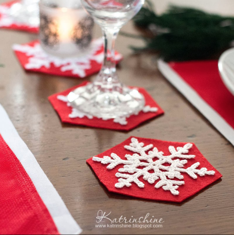 Handy with a crochet needle? Stitch up snowflake coasters for party guests' drinks. See more at Katrinshine » What you'll need:crochet thread ($7,amazon.com), red felt($11,amazon.com)